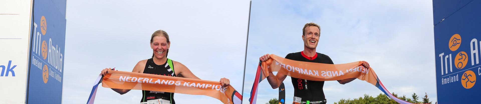 Tri-Ambla 2018 NK Cross Triathlon winnaars Ingrid van Lubek en Joep Staps